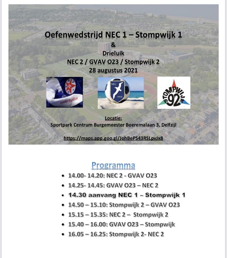 Oefenprogramma NEC Delfzijl 1 en 2