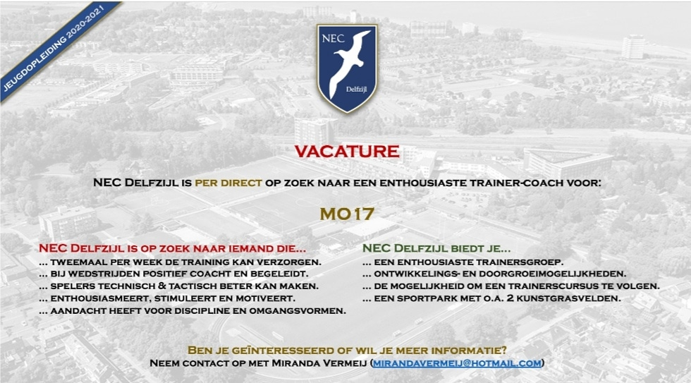 Vacature trainer-coach MO17